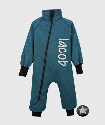 Waterproof Softshell Overall Comfy Cyan Melange Bodysuit