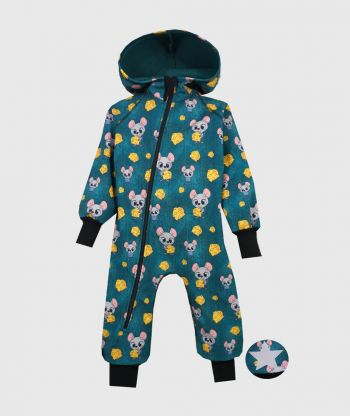 Waterproof Softshell Overall Comfy Mice Green  Jumpsuit
