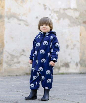 Waterproof Softshell Overall Comfy Pixel Panda Blue Jumpsuit