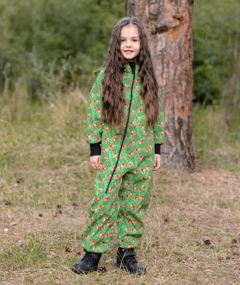 Waterproof Softshell Overall Comfy Parrots Drawings Jumpsuit