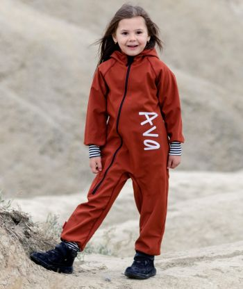 Waterproof Softshell Overall Comfy Dark Cinnamon Striped Cuffs Jumpsuit
