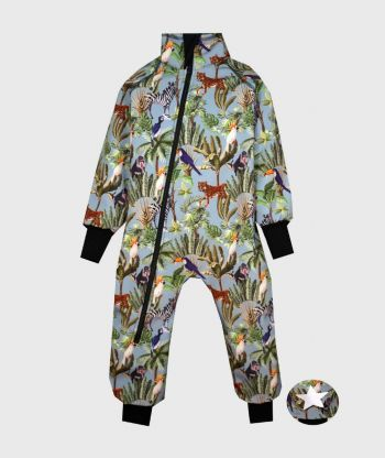 Waterproof Softshell Overall Comfy Wild Animals Blue Bodysuit